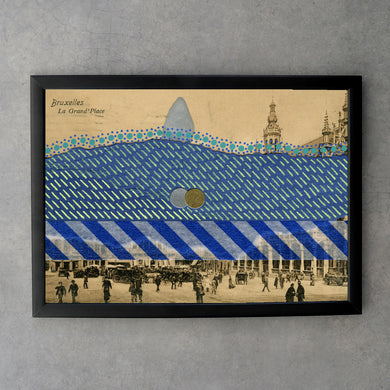 Blue Collage On Vintage Bruxelles Postcard Print - Naomi Vona Art