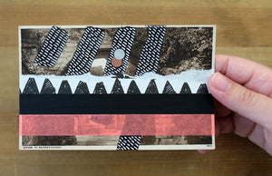 Black, White And Neon Red Mixed Media Collage On Retro Postcard - Naomi Vona Art
