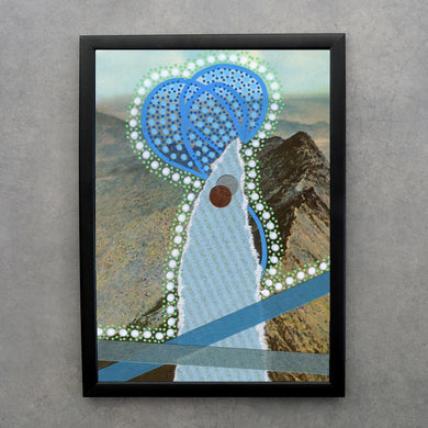 Blue Abstract Collage Print On Mountain View Postcard - Naomi Vona Art