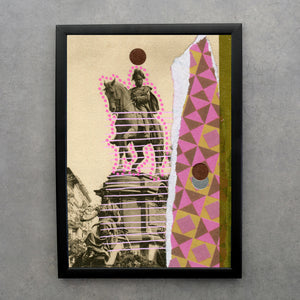 Vintage Altered Monument Postcard Collage Print - Naomi Vona Art