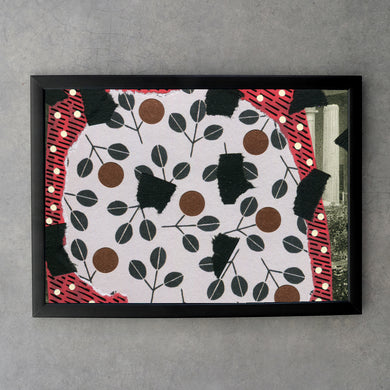 Black Red Mixed Media Collage Art Print - Naomi Vona Art