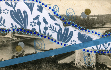Blue Abstract Organic Mixed Media Art Collage On Vintage Postcard - Naomi Vona Art