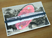 Load image into Gallery viewer, Neon Red, Grey And Black Mixed Media Art On Retro Postcard - Naomi Vona Art