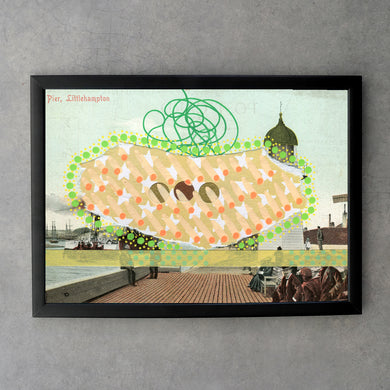 Pastel Orange And Green Collage On Retro Postcard - Naomi Vona Art