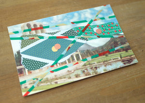 Green Red Mixed Media Art Collage On Retro Postcard Illustration - Naomi Vona Art