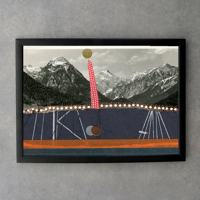 Vintage Mountain View Collage Art Print - Naomi Vona Art