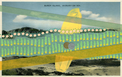 Vintage Burgh Island Mixed Media Art Collage - Naomi Vona Art
