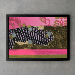 Black, Pink And Golden Abstract Fine Art Print - Naomi Vona Art