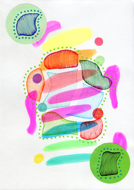 Underwater Inspired Abstract Neon Art Collage - Naomi Vona Art