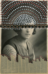 Brown, Beige And White Collage On Vintage Woman Studio Photography - Naomi Vona Art