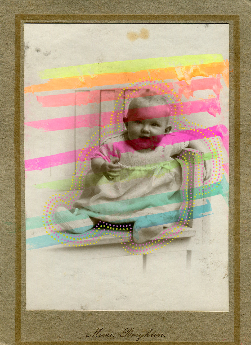 Vintage Baby Portrait Altered By Hand - Naomi Vona Art