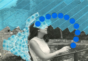 Blue Shades Contemporary Art Collage On Vintage Photo Of A Woman Smoking - Naomi Vona Art