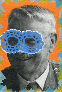 Vintage Smiling Old Man Photo Collage Art - Naomi Vona Art