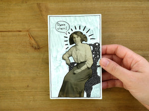 Funny Altered Vintage Woman Portrait Art - Naomi Vona Art