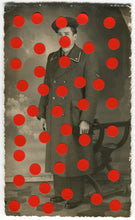 Load image into Gallery viewer, Vintage Man In Uniform Studio Portrait Altered With Dotty Red Stickers - Naomi Vona Art