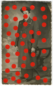 Vintage Man In Uniform Studio Portrait Altered With Dotty Red Stickers - Naomi Vona Art
