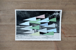 Abstract Paper Collage Composition On Vintage Photo - Naomi Vona Art