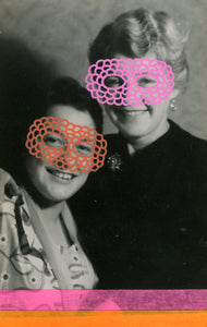 Vintage Smiling Masked Woman Art Collage - Naomi Vona Art