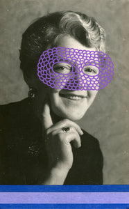 Vintage Happy Masked Woman Art Collage - Naomi Vona Art