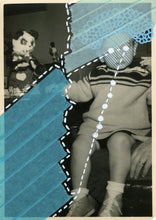 Load image into Gallery viewer, Light Blue Art Collage On Vintage Baby Portrait - Naomi Vona Art
