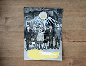 Surreal Yellow And White Art Collage On Vintage Portrait - Naomi Vona Art