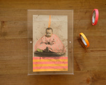 Load image into Gallery viewer, Neon Orange And Red Mixed Media Collage Art On Vintage Baby Boy Portrait - Naomi Vona Art