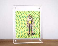 Load image into Gallery viewer, Neon Yellow Original Vintage Smiling Man Photography Portrait - Naomi Vona Art