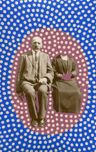Load image into Gallery viewer, Dotty Blue And Red Art On Vintage Couple Portrait - Naomi Vona Art
