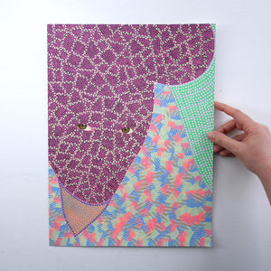Altered Portrait Collage Decorated With Pens And Washi Tape - Naomi Vona Art