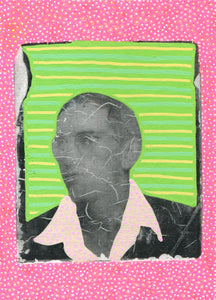 Retro Man With Glasses Portrait Photo Transfer - Naomi Vona Art