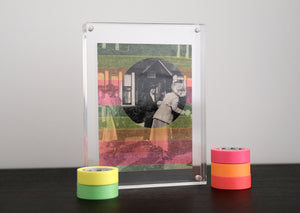 Neon Washi Tape Art Collage On Vintage Photography - Naomi Vona Art