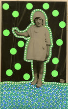 Load image into Gallery viewer, Neon Green Art Collage On Vintage Baby Girl Portrait - Naomi Vona Art