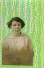 Load image into Gallery viewer, Pastel Green And Yellow Collage Art On Retro Woman Photo - Naomi Vona Art