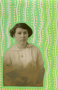 Pastel Green And Yellow Collage Art On Retro Woman Photo - Naomi Vona Art