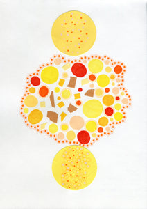 Yellow Red Abstract Art Collage - Naomi Vona Art