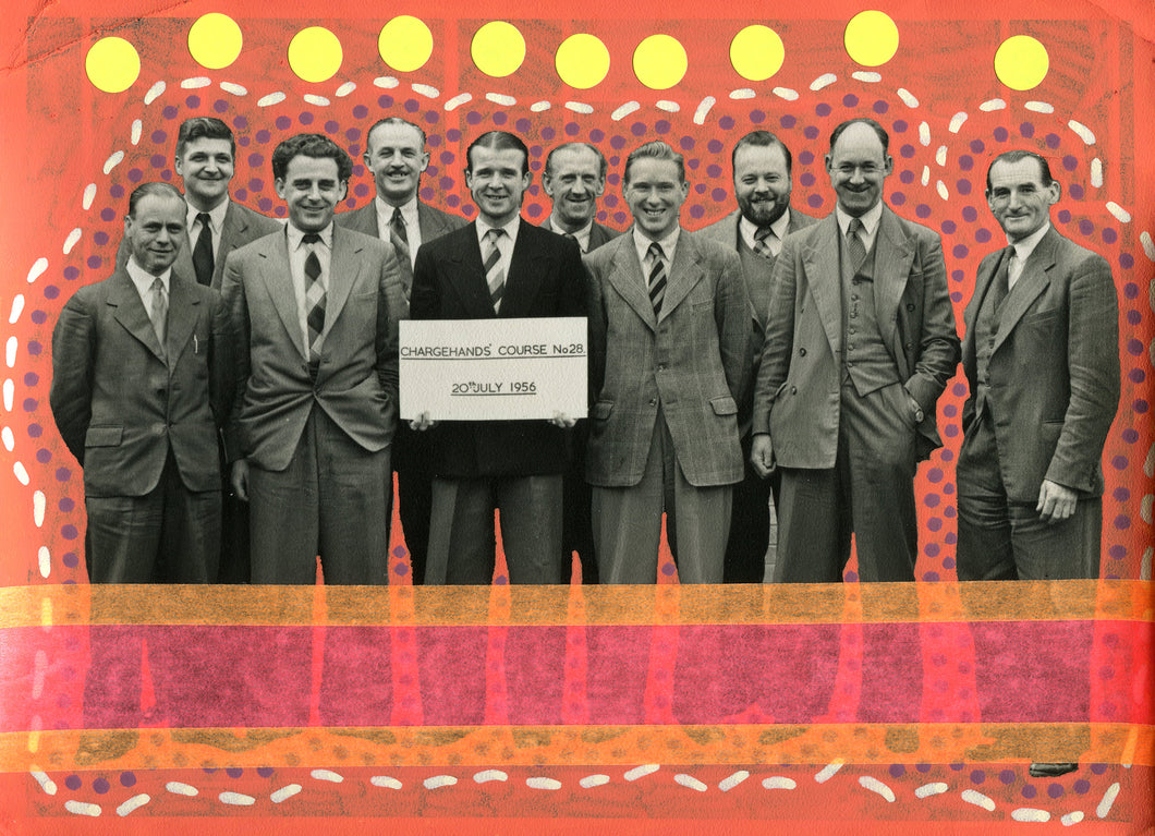 Vintage Group Of Smiling Men Portrait Art Collage - Naomi Vona Art