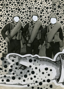 Black And White Collage On Vintage Soldiers Portrait - Naomi Vona Art