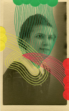 Green Yellow And Red Abstract Composition On Vintage Woman Portrait Photo - Naomi Vona Art