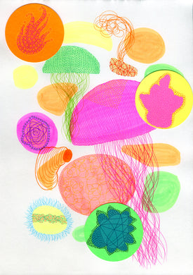 Neon Jellyfish Inspired Abstract Art Collage - Naomi Vona Art