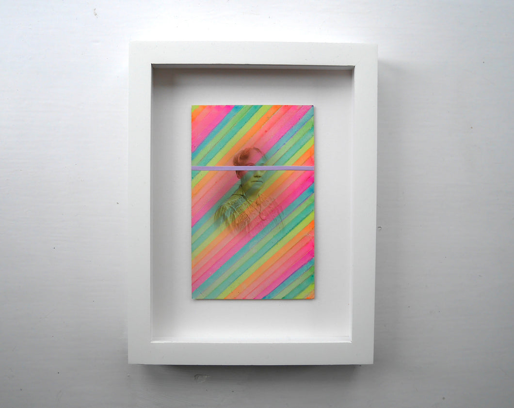 Neon Rainbow Framed Vintage Collage Art - Naomi Vona Art