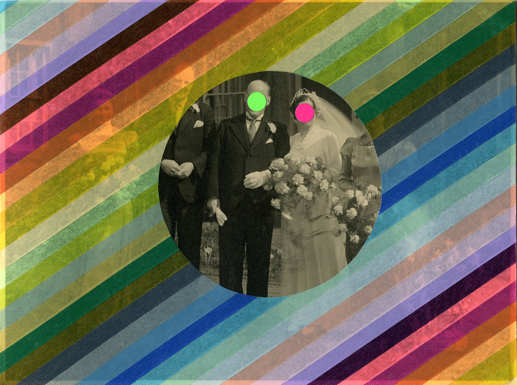 Vintage Wedding Couple Portrait Photography Altered With Washi Tape - Naomi Vona Art