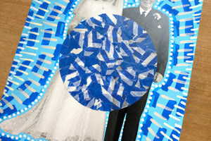Blue And White Vintage Wedding Couple Portrait Art Collage - Naomi Vona Art