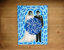 Carica l'immagine nel visualizzatore di Gallery, Blue And White Vintage Wedding Couple Portrait Art Collage - Naomi Vona Art