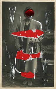 White And Red Collage On Vintage Woman Studio Portrait - Naomi Vona Art