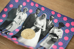 Vintage Wedding Group Portrait Art Collage - Naomi Vona Art