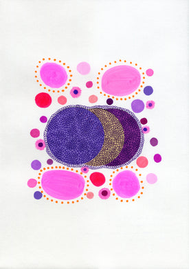 Purple Pink Abstract Organic Art Collage - Naomi Vona Art