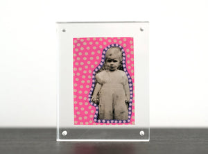Pink Neon Art Collage On Girl Portrait Photo - Naomi Vona Art