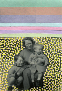 Mother With Child Manipulated With Mixed Media Materials - Naomi Vona Art