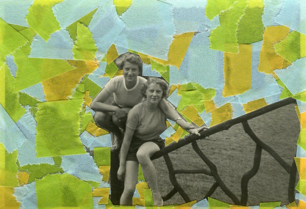 Happy Couple Vintage Photography Portrait Art Collage - Naomi Vona Art