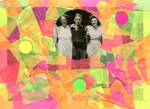 Load image into Gallery viewer, Fluorescent Colours Art Collage On Vintage Group Portrait Photo - Naomi Vona Art